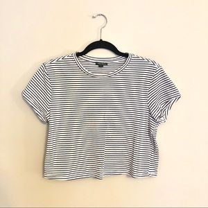 Wild Fable Striped Cropped Tee Black & White